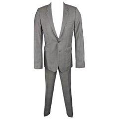 SAINT LAURENT 38 Regular Dark Gray Plaid Wool Notch Lapel Skinny Suit