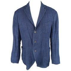 45rpm M Indigo Blue Linen Notch Lapel Patch Pocket Sport Coat