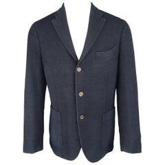 BOGLIOLI 40 Navy Wool Blend Woven Knit Notch Lapel Sport Coat