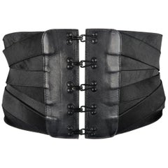 Jean Paul Gaultier Vintage Black Woven Elastic Band Hook Eye Corset Belt
