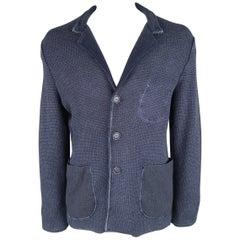 BOGLIOLI L Navy Knitted Wool Patch Pocket Notch Lapel Sport Coat