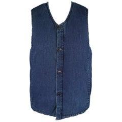 BLUE BLUE JAPAN L Indigo Solid Cotton Distressed Puff Vest