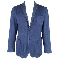 OFFICINE GENERALE 42 Indigo Herringbone Cotton Knit Patch Pocket Sport Coat
