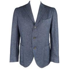 BOGLIOLI 42 Navy Woven Pattern Wool / Cashmere Notch Lapel Sport Coat