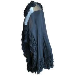 Cardinali Black Silk Palazzo Pant Jumpsuit Ruffled Cape Dress, Fall 1974