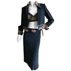 Cardinali Embroidered Black Cotton Skirt Suit with Midriff Baring Bra Fall 1971