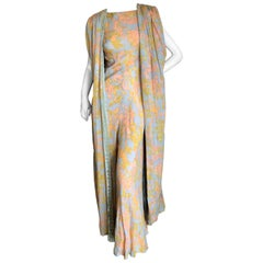Cardinali Tangerine Silk Floral Jumpsuit with Matching Velvet Lined Cape, 1971