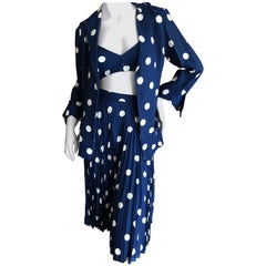 Cardinali Pleated Polka Dot Three Piece Suit with Midriff Baring Bra, Fall 1971