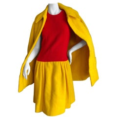 Cardinali Color Block Boucle Dress and Belted Coat, Fall 1972
