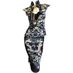 Yves Saint Laurent by Tom Ford Chinoiserie Two Piece Silk Dress Set, Fall 2004