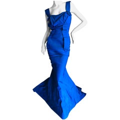 Vivienne Westwood Gold Label 2011 Blue Taffeta Evening Dress with Fishtail Train