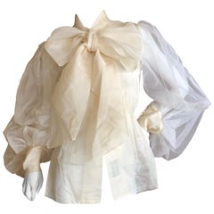 Cardinali Sheer Ivory Silk Blouse with Dramatic Sleeves and Bow  Fall 1971