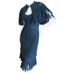 Cardinali Black Silk Lined Crochet Dress with Matching Fringed Shawl Fall 1971