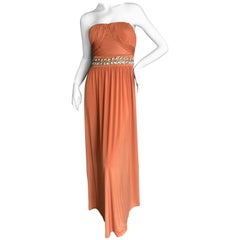 Roberto Cavalli 90's Orange Embellished Silk Evening Dress for Class Cavalli NWT