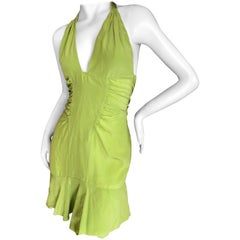 Versace Vintage 90's Green Mini Halter Dress with Crystal Buckle Details