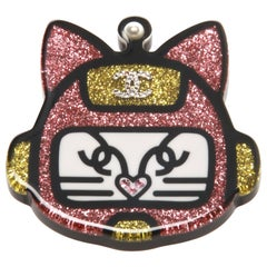 Chanel metal, glittered resin, diamante and glass, pearl cat robot brooch/pin