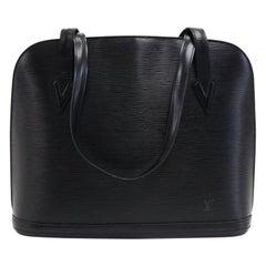 Vintage Louis Vuitton Lussac Black Epi Leather Large Shoulder Bag