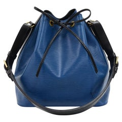 Vintage Louis Vuitton Petit Noe Vio Blue x Black Bicolor Leather Shoulder Bag