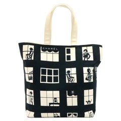 Chanel Coco Window Black & White Canvas Tote Bag