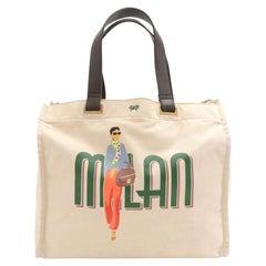 Anya Hindmarch Milan Fashionista White Canvas Tote Bag