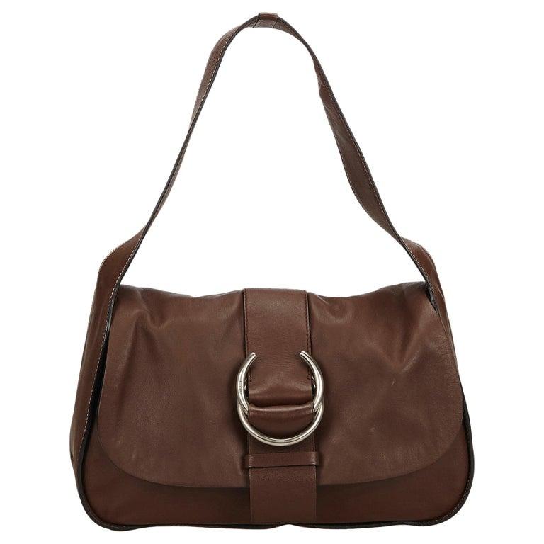 6c349199b20f Prada Brown x Dark Brown Leather Shoulder Bag