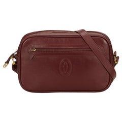 Cartier Red X Bordeau Leather Must De Crossbody Bag