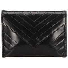 YSL Black Leather V Stitch Clutch