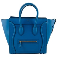 Celine Blue electric Calf leather Mini Luggage