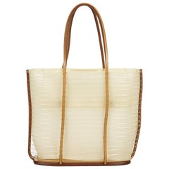 Ferragamo White x Ivory x Brown x Light Brown Vinyl Tote Bag