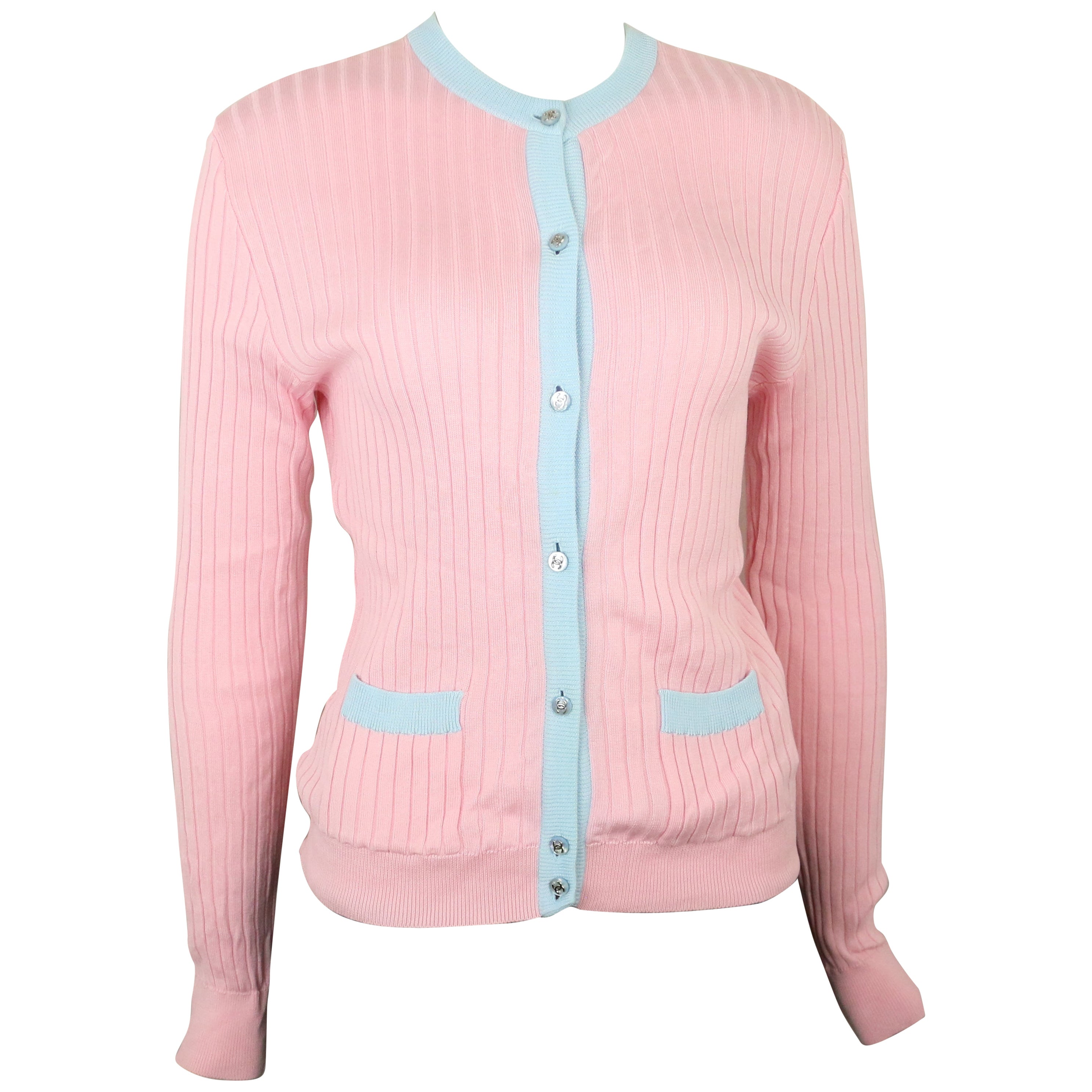 Chanel Pink and Blue Trimming Cardigan