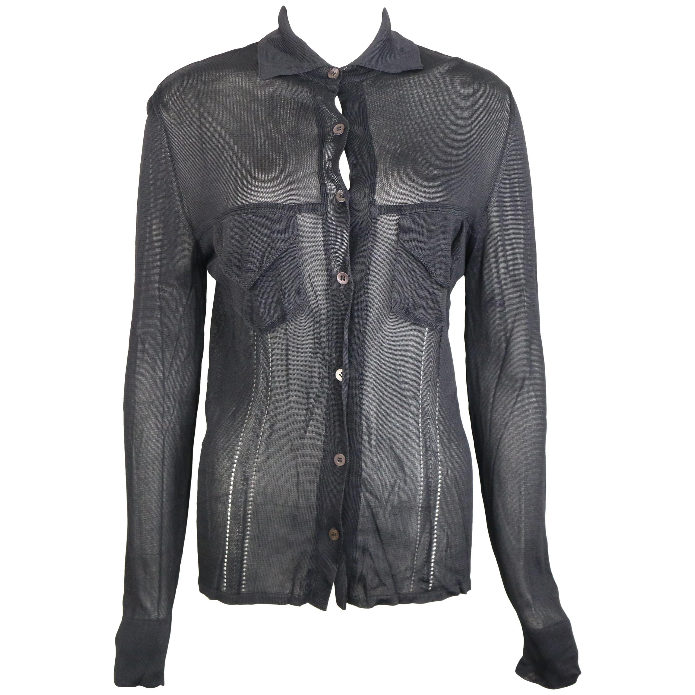 Gucci Black Rayon Knitted Collar Long Sleeves Shirt