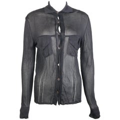 Gucci Black Rayon Knitted Collar Long Sleeves Shirt