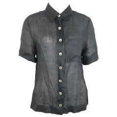 Chanel Black Linen Short Sleeves Collar Shirt
