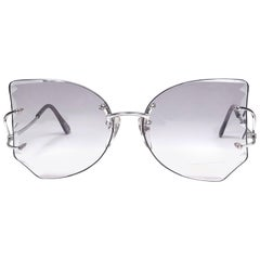 Rare 1970's Tura Rimless Silver Collector Item Frame Japan Sunglasses