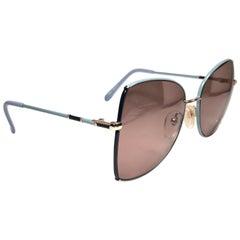 Vintage Tura 1970's  Blue Oversized Japan 1980 Sunglasses