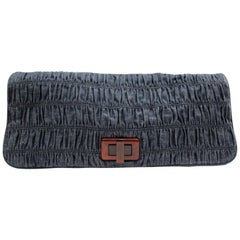 Prada Blue Denim Clutch Bag