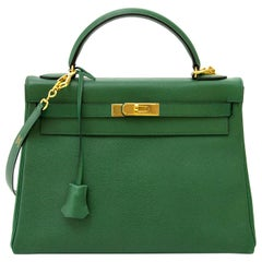 Hermes Vert Bengal Courchevel Leather Kelly 32 Bag