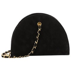 Chanel Vintage Quilted Suede Small Dome Chain Bag