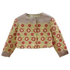 Prada Pink Yellow Red Flowers Jacket