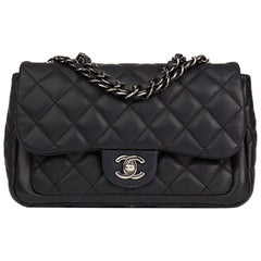 2013 Chanel Black Quilted Caviar Leather Classic Single Flap Bag