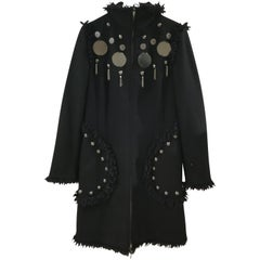 Moschino Silver tone Studs Black Wool Coat