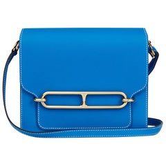 Hermes Blue Hydra Evercolour Leather Roulis 23 Bag, 2105