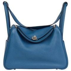 2013 Hermes Blue Togo Blue Thalassa Leather Lindy 30