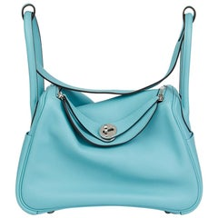 Hermes Blue Atoll Evercolour Leather Lindy 26 Bag, 2015