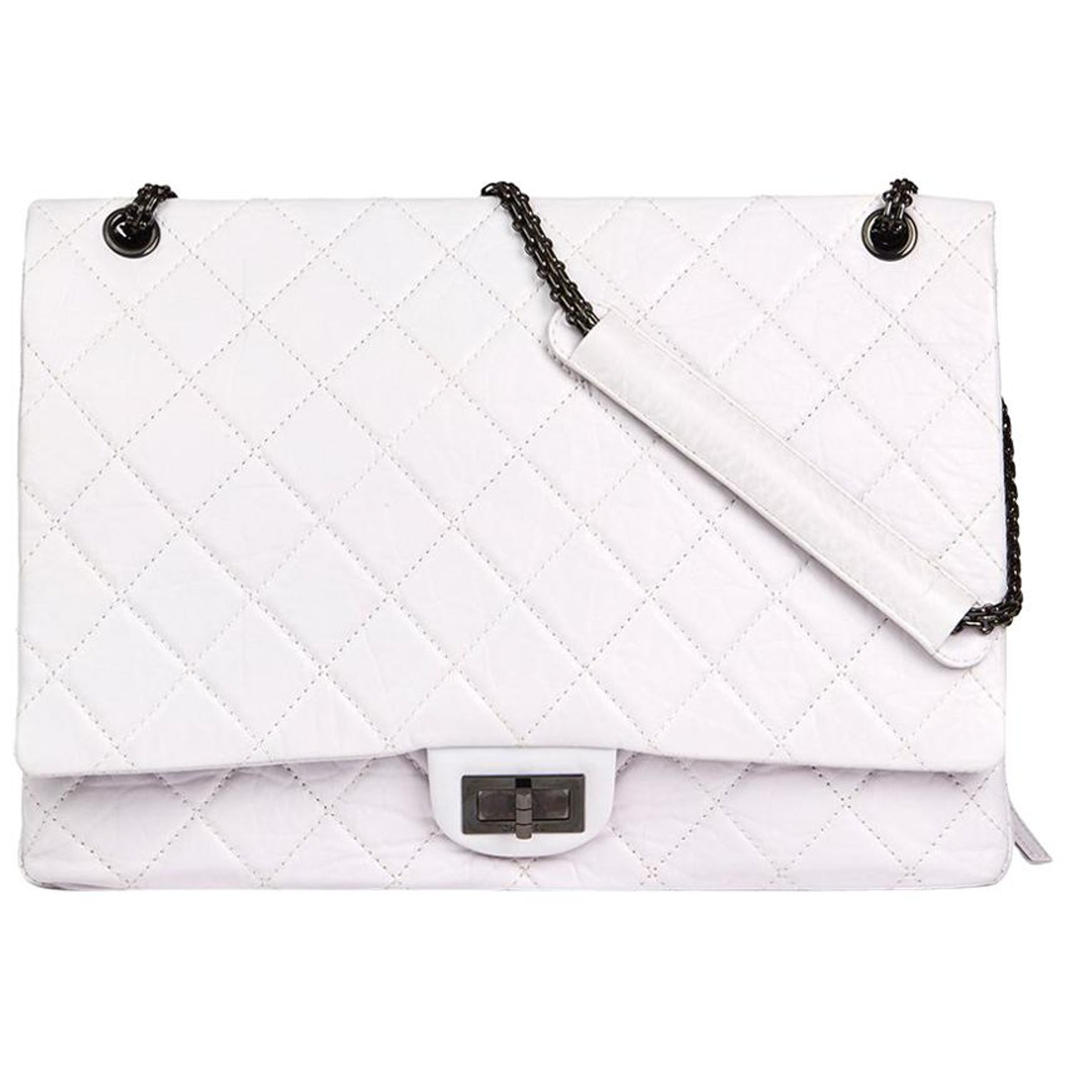 fc12f4e8a24bd4 Chanel Icy White Quilted Aged Calfskin Leather 2.55 Reissue 228 Flap Bag at  1stdibs