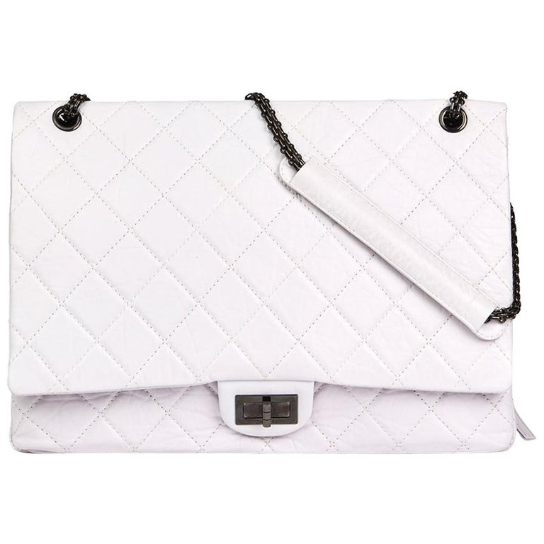 Chanel Icy White Quilted Aged Calfskin Leather 2.55 Reissue 228 Flap Bag