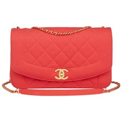 2015 Chanel Coral Quilted Jersey Fabric Reissue Diana Classic Single Flap Bag