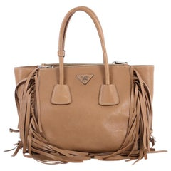 Prada Fringed Twin Pocket Tote Glace Calf Small