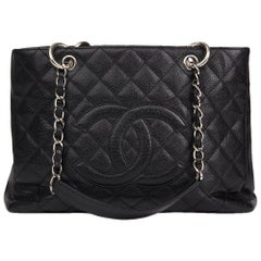 2006 Chanel Black Quilted Caviar Leather Grand Shopping Tote GST