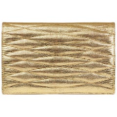 1991 Chanel Metallic Gold Wave Quilted Lizard Leather Vintage Timeless Clutch